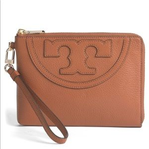 "Tory Burch Large ""All-T"" Leather Wristlet"